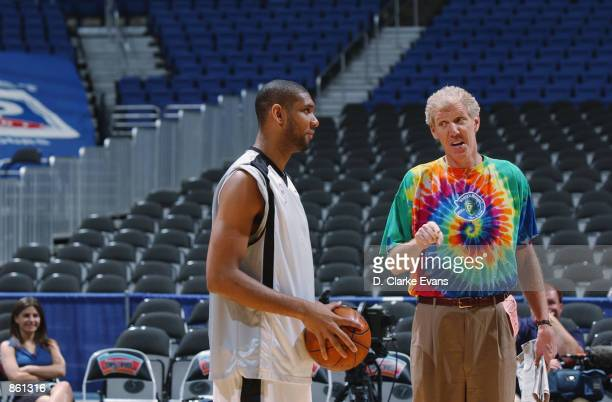 Commentator Bill Walton talks with Tim Duncan of the San Antonio Spurs before Game four of the Western Conference Semifinals during the 2002 NBA...
