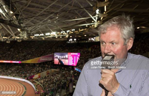 BBC commentator Brendan Foster looks on from the the stands during day eight of the 16th IAAF World Athletics Championships London 2017 at The London...
