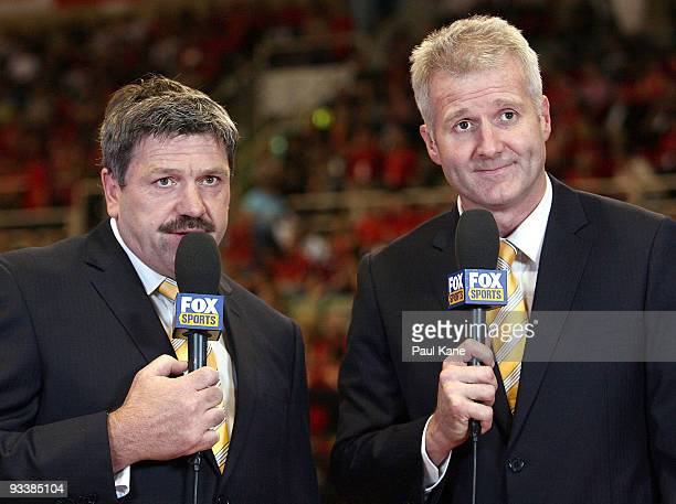 Commentator Brian Taylor and former Australian basketball player Andrew Gaze present on camera during the round eight NBL match between the Perth...