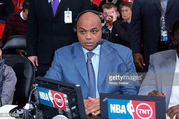 TNT commentator Charles Barkley during the game between the New York Knicks and Sacramento Kings on December 10 2015 at Sleep Train Arena in...