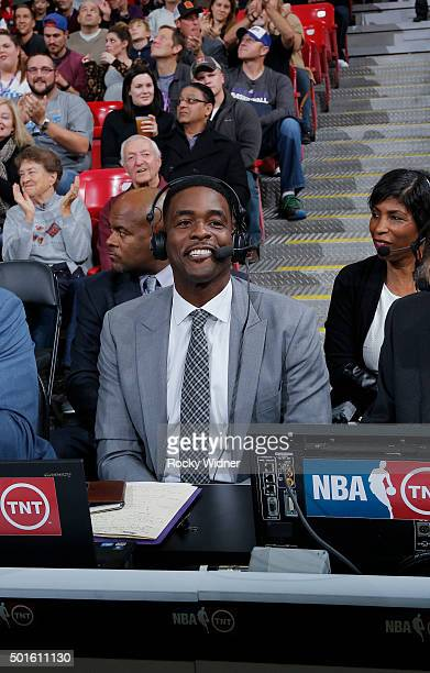 TNT commentator Chris Webber during the game between the New York Knicks and Sacramento Kings on December 10 2015 at Sleep Train Arena in Sacramento...