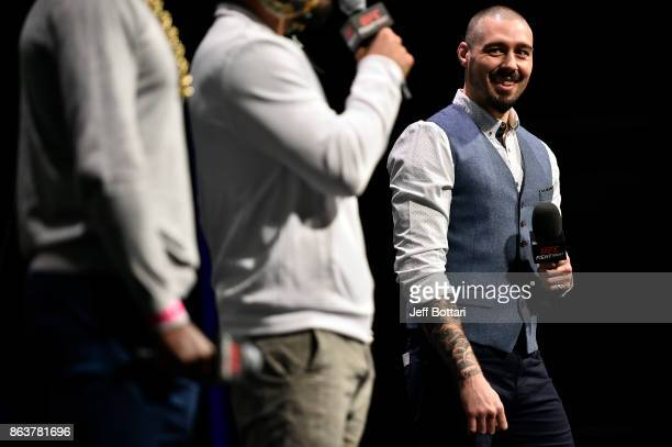 UFC commentator Dan Hardy interacts with fans during a QA session before the UFC Fight Night Weighin inside Ergo Arena on October 20 2017 in Gdansk...