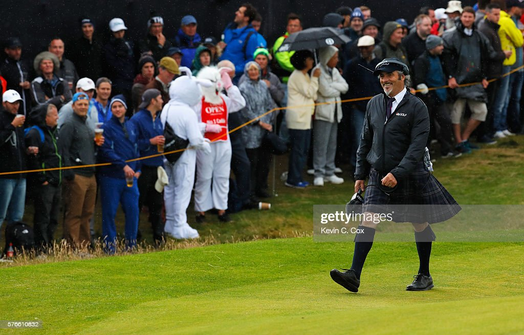 TV commentator David Feherty is pictured during the third round on day three of the 145th Open Championship at Royal Troon on July 16 2016 in Troon...