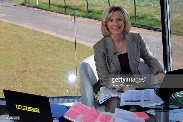 BBC commentator Hazel Irvine poses for a portrait during the third round of the 2011 Ricoh Women's British Open at Carnoustie on July 30 2011 in...