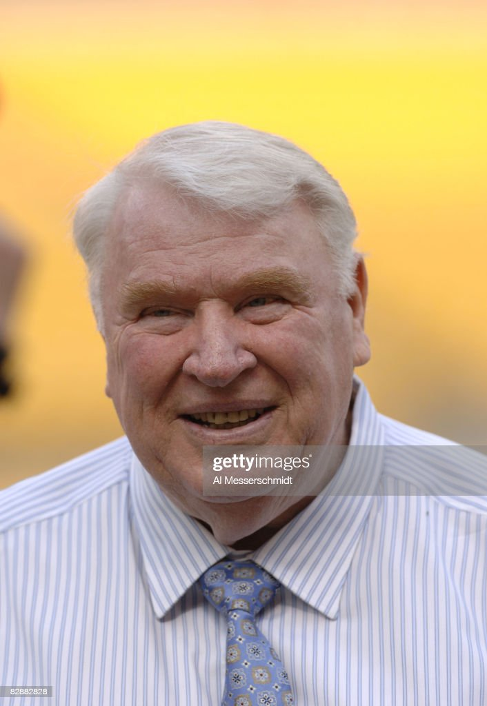 TV commentator <a gi-track='captionPersonalityLinkClicked' href=/galleries/search?phrase=John+Madden+-+American+Football+Personality&family=editorial&specificpeople=14045890 ng-click='$event.stopPropagation()'>John Madden</a> stands on the sidelines as the Pittsburgh Steelers host the Miami Dolphins at Heinz Field, September 7, 2006. The Steelers defeated the Dolphins, 28-17.
