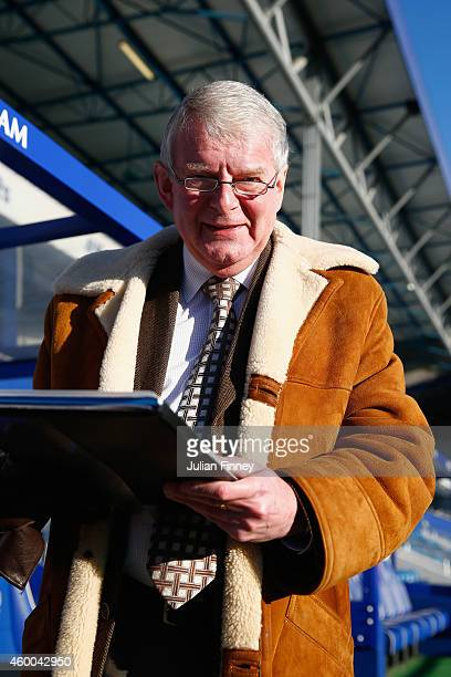 Commentator John Motson ahead of the Barclays Premier League match between Queens Park Rangers and Burnley at Loftus Road on December 6 2014 in...
