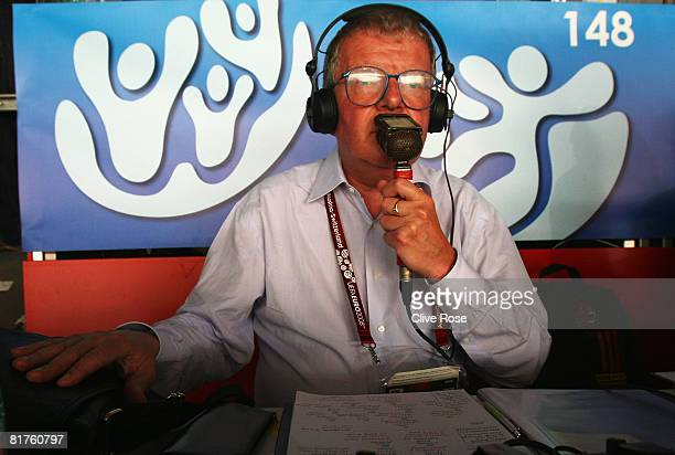 Commentator John Motson is pictured ahead of the UEFA EURO 2008 Final match between Germany and Spain at Ernst Happel Stadion on June 29 2008 in...