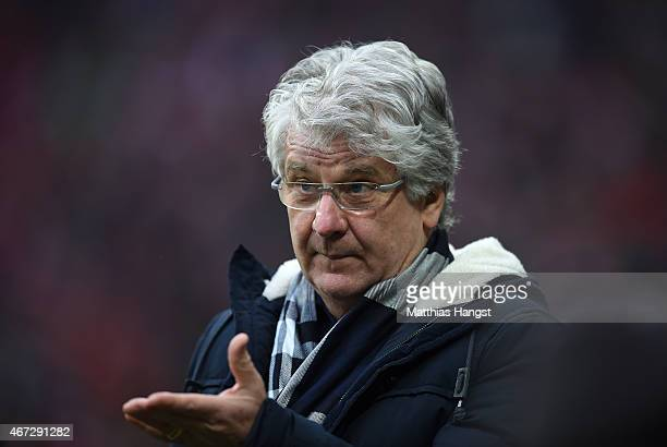 TV commentator Marcel Reif seen prior to the Bundesliga match between FC Bayern Muenchen and Borussia Moenchengladbach at Allianz Arena on March 22...