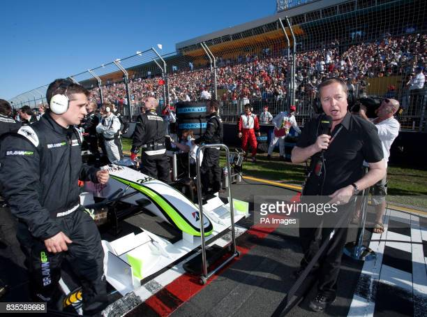 BBC commentator Martin Brundle on the grid prior to the Australian Grand Prix at Albert Park Melbourne Australia