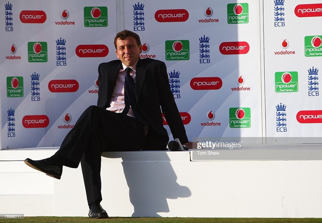 Commentator Michael Atherton sits on the npower stage during day five of the Third Test match between England and India at the Oval on August 13, 2007 in London, England.
