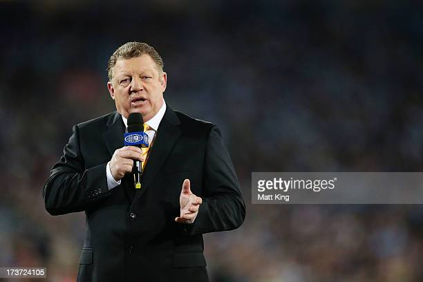 Commentator Phil Gould presents a piece to camera prior to game three of the ARL State of Origin series between the New South Wales Blues and the...