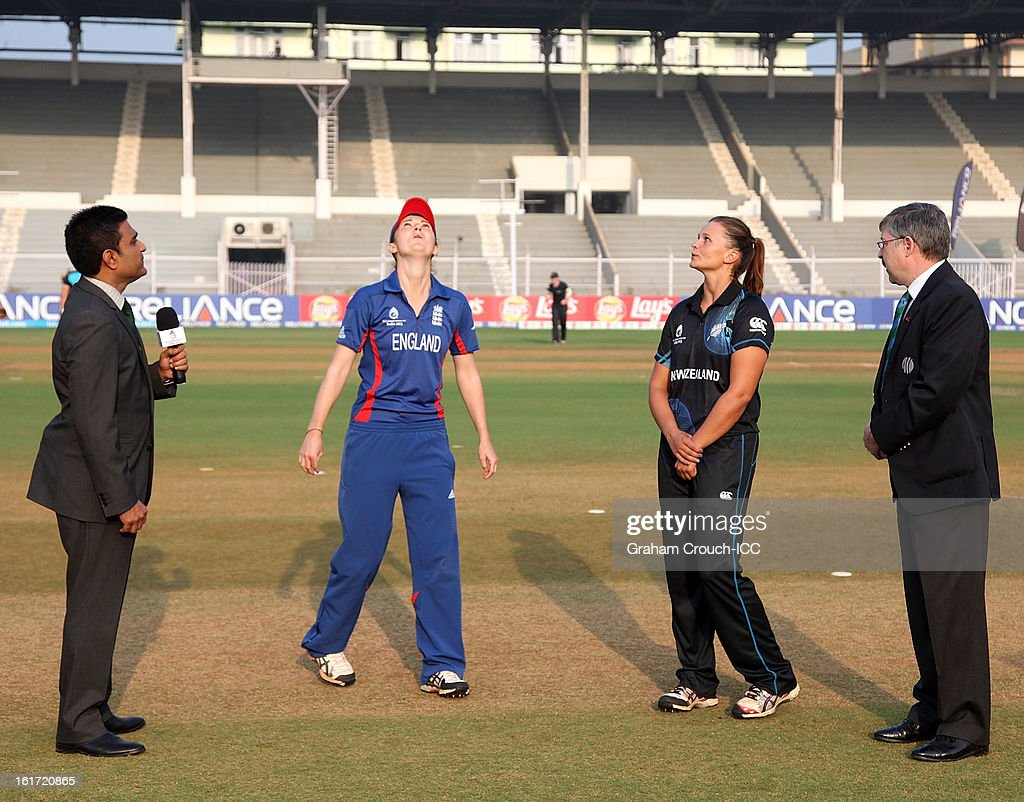 Commentator Sanjay Mandrekar, England captain Charlotte Edwards, New Zealand captain Suzy Bates and match referee David Dukes watch the toss ahead of the 3rd/4th Place Play-Off game between England and New Zealand at the Women's World Cup India 2013 at the Cricket Club of India ground on February 15, 2013 in Mumbai, India.