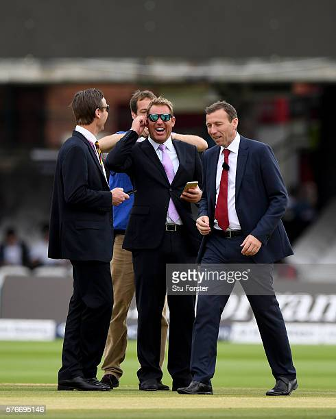 Commentator Shane Warne shares a joke with Michael Atherton before day four of the 1st Investec Test match between England and Pakistan at Lord's...