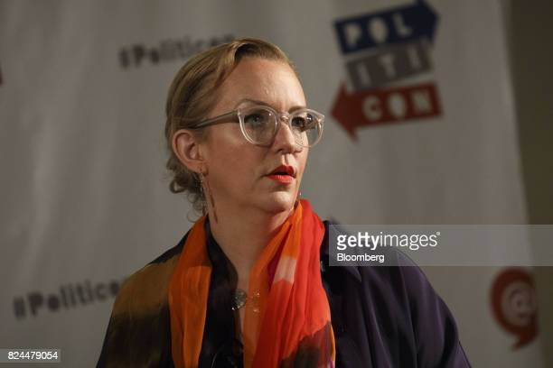 Commentator Xeni Jardin speaks during the Politicon convention inside the Pasadena Convention Center in Pasadena California US on Saturday July 29...