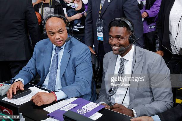 TNT commentators Charles Barkley and Chris Webber during the game between the New York Knicks and Sacramento Kings on December 10 2015 at Sleep Train...