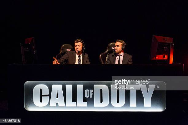 Commentators discuss a qualifying match at the 2015 Call of Duty European Championships at The Royal Opera House on March 1 2015 in London England...