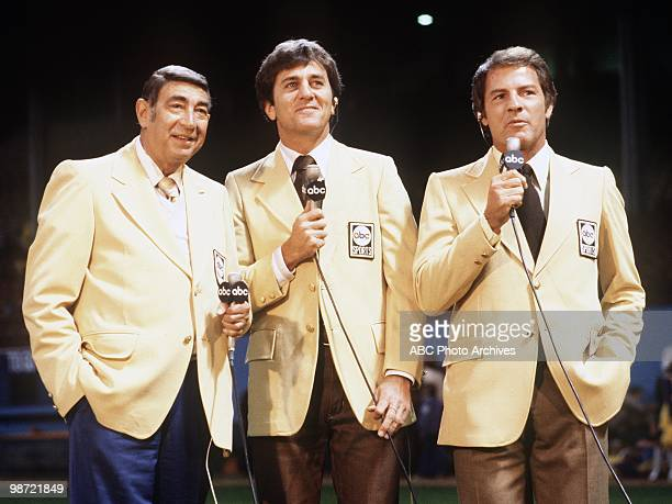 FOOTBALL Commentators gallery 9/26/77 at the New England Patriots vs Cleveland Browns game won by the Browns 3027 Howard Cosell Don Meredith and...