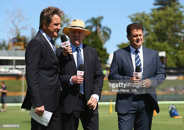 Commentators Mark Nicholas Ian Chappell and Mark Taylor look on during day one of the second Test match between Australia and New Zealand at WACA on...