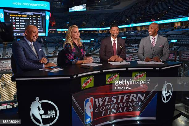 Commentators Michael Wilbon Michelle Beadle Jalen Rose and Chauncey Billups talk on camera before Game Three of the Western Conference Finals between...