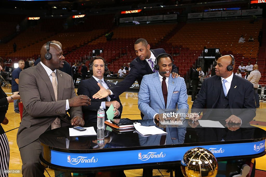 NBA TV commentators <a gi-track='captionPersonalityLinkClicked' href=/galleries/search?phrase=Shaquille+O%27Neal&family=editorial&specificpeople=201463 ng-click='$event.stopPropagation()'>Shaquille O'Neal</a>, <a gi-track='captionPersonalityLinkClicked' href=/galleries/search?phrase=Matt+Winer&family=editorial&specificpeople=7033466 ng-click='$event.stopPropagation()'>Matt Winer</a>, Steve Smith, <a gi-track='captionPersonalityLinkClicked' href=/galleries/search?phrase=Charles+Barkley&family=editorial&specificpeople=202484 ng-click='$event.stopPropagation()'>Charles Barkley</a> and <a gi-track='captionPersonalityLinkClicked' href=/galleries/search?phrase=Boris+Diaw&family=editorial&specificpeople=201505 ng-click='$event.stopPropagation()'>Boris Diaw</a> #33 of the San Antonio Spurs speak after Game Three of the 2014 NBA Finals between the Miami Heat and the San Antonio Spurs at American Airlines Arena on June 10, 2014 in Miami, Florida.