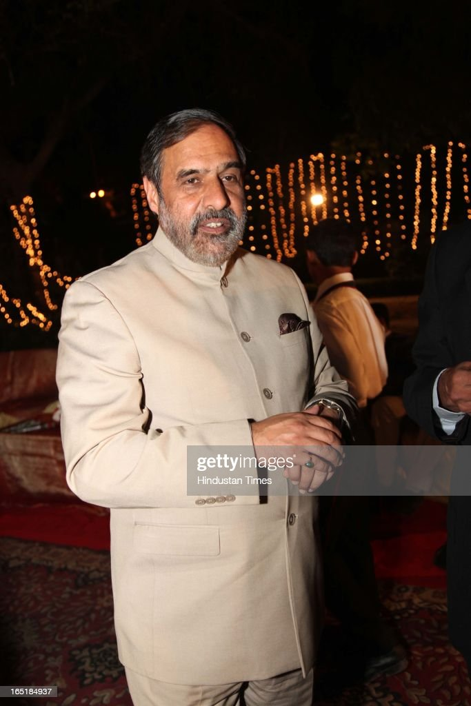 Commerce and Industry Minister Anand Sharma at the wedding reception of educationist Dr SB Mujumdar's grandson Ameya Yeravdekar and Swati Thorat at Delhi Gymkhana on March 22, 2013 in New Delhi, India.