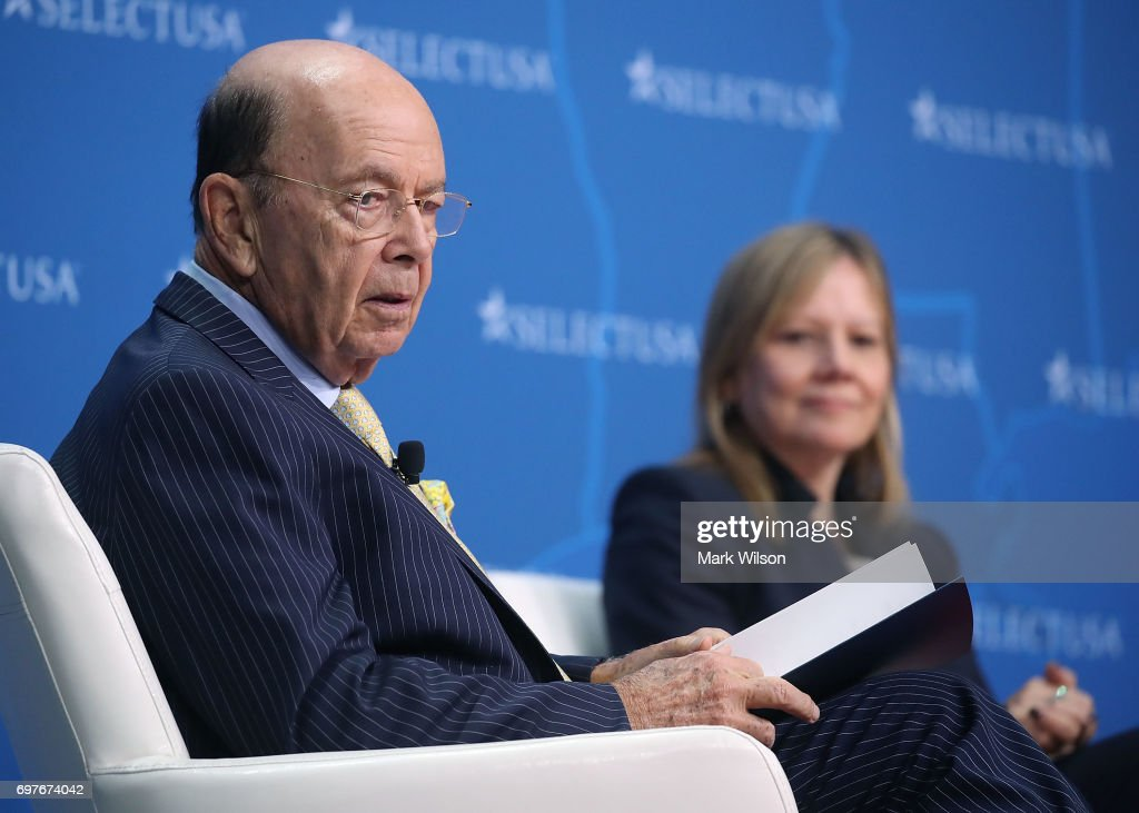 Commerce Secretary Wilbur Ross (L) moderates a discussion with General Motors CEO, Mary Barra during the Select USA 2017 Investment Summit at the Gaylord international Hotel, on June 19, 2017 in National Harbor, Maryland. SelectUSA is a U.S. government-wide program housed in the International Trade Administration at the United States Department of Commerce.