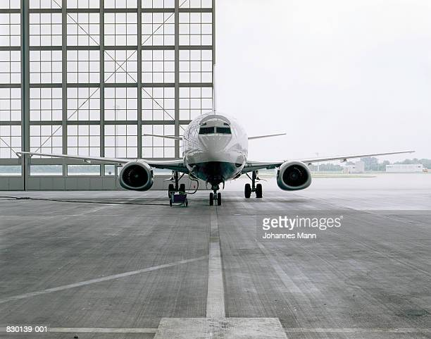 Commercial aircraft in hangar