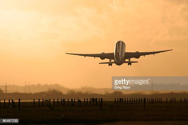 Commercial aircraft taking off