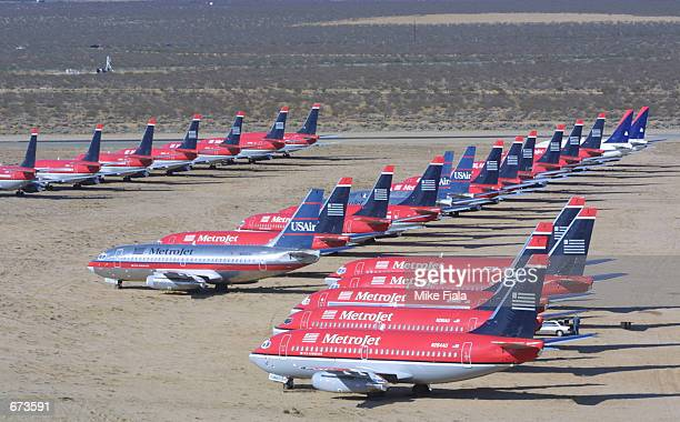 Commercial airliners sit at the Mojave Airport November 26 2001 in Mojave California The airport is home to the nation's largest graveyard for...