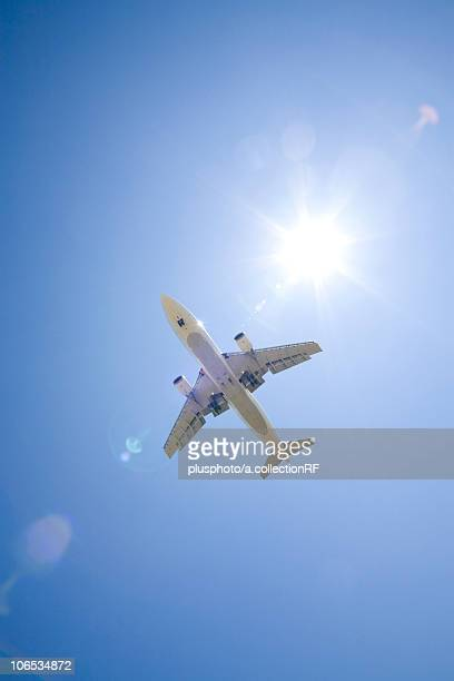 Commercial airplane, low angle view