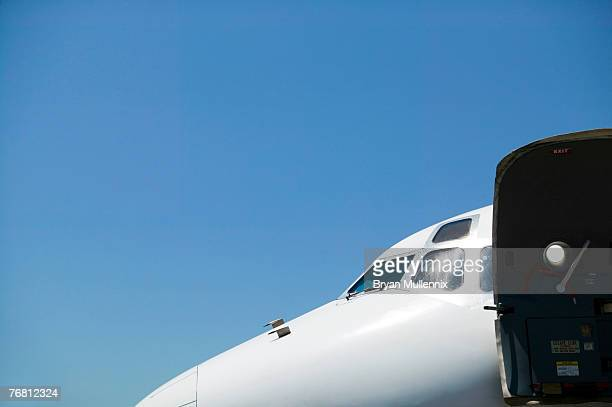 Commercial airplane with open door