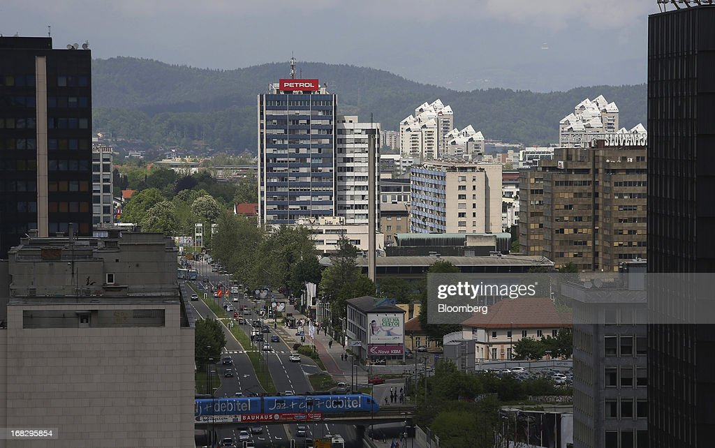 Commercial buildings and offices stand on the city skyline in Ljubljana, Slovenia, on Tuesday, May 7, 2013. Slovenia plans to increase taxes to make up for the swelling budget shortfall as the country works to recapitalize its banks. Photographer: Chris Ratcliffe/Bloomberg via Getty Images