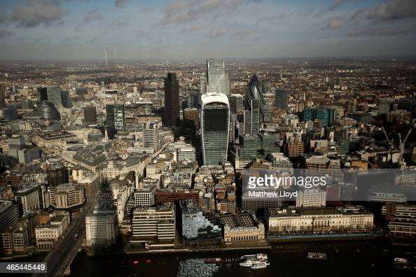Commercial buildings including The Walkie Talkie The 'Cheesegrater' and the 'Pinnacle' from the skyline of the City of London seen from the View from...