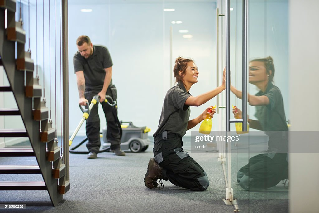 commercial cleaning contractors : Stock Photo