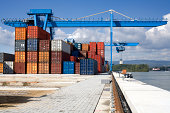 Commercial dock, gantry cranes, cargo containers