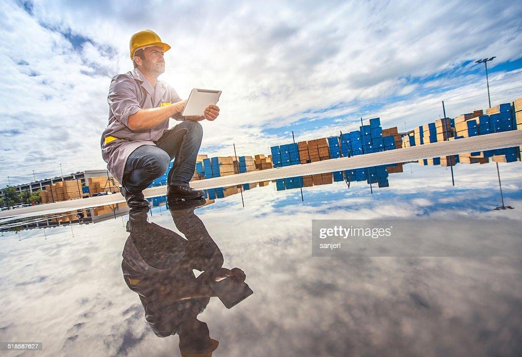Docas comercial Trabalhador : Foto de stock
