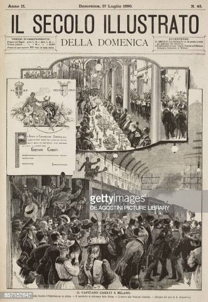 Commercial Exploration Company parchment banquet at the Stock Exchange restaurant arriving at Central Station Gaetano Casati in Milan Italy drawings...