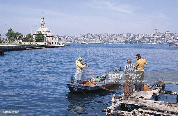 Commercial fishermen with fishing nets Sea of Marmara Turkey