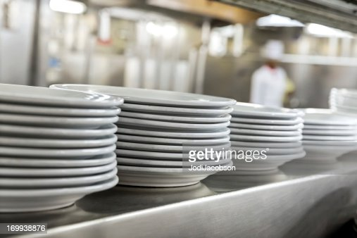 Commercial kitchen showing dishes