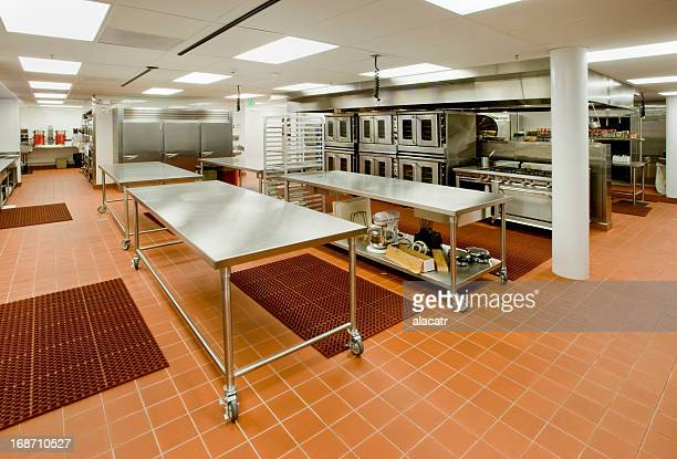 Commercial Kitchen with Prep Tables and Ovens