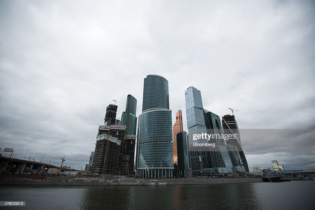 Moscow City Business District, Oao Gazprom And Kremlin Views