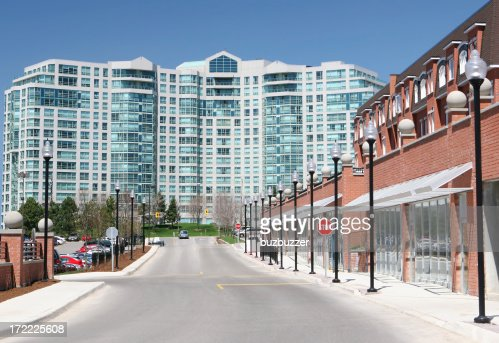 Commercial street near a large Apartment Building : Stock Photo