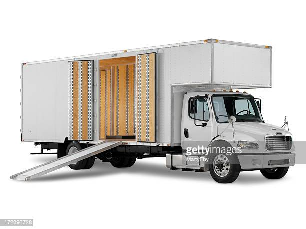 Commercial truck ready for loading on white background