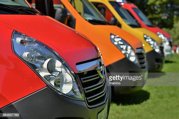 Commercial vehicles in a row