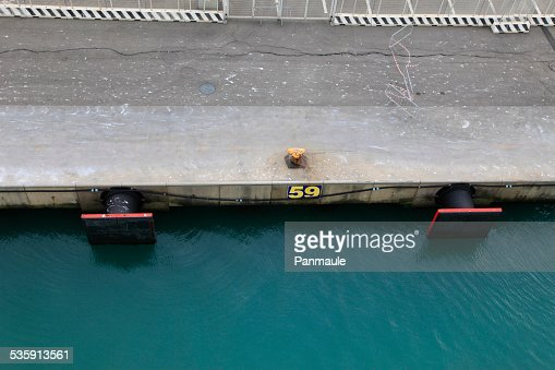 Commercial wharf ship fenders : Stock Photo
