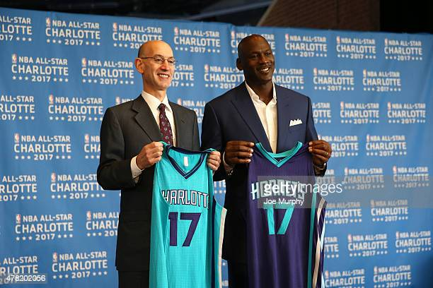 Commisioner Adam Silver and Michael Jordan pose for a picture as the Charlotte Hornets announce the 2017 AllStar game at the Time Warner Cable Arena...