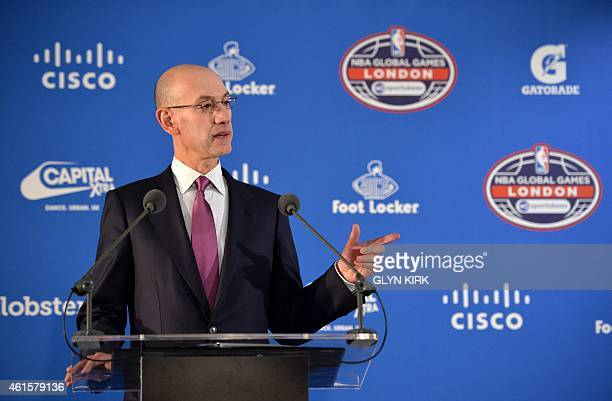 NBA Commisioner Adam Silver gestures during a press conference ahead of the 2015 NBA global game between Milwaukee Bucks and New York Knicks at the...