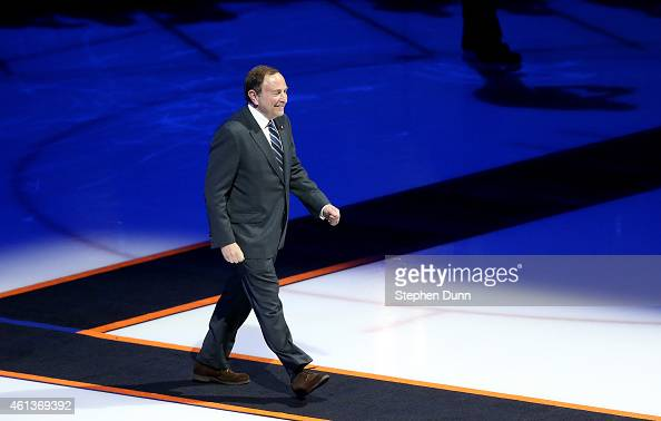 Commisioner Gary Bettman walks to the stand as he is introduced during ceremonies retiring the number of Teemu Selanne of the Anaheim Ducks before...