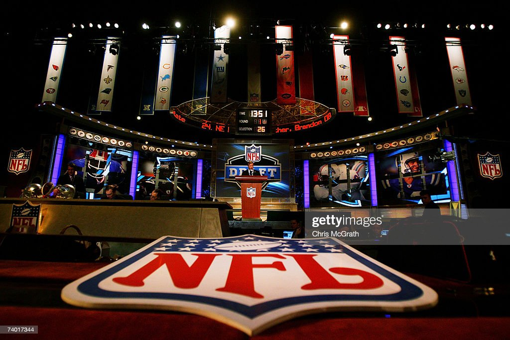 Commisioner Roger Goodell speaks during the 2007 NFL Draft on April 28 2007 at Radio City Music Hall in New York New York