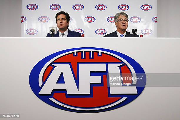 Commission Chairman Mike Fitzpatrick and AFL CEO Gillon McLachlan speak to media on January 12 2016 in Melbourne Australia The Court of Arbitration...
